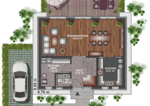 Einfamilienhaus 100 - Erdgeschoss
