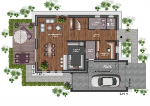 Einfamilienhaus 165 - Erdgeschoss